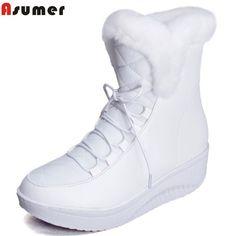 4cd7809b3 Asumer Venta Caliente Zapatos Mujer Botas Slip-On Solid Suave Lindo Nieve  de las mujeres