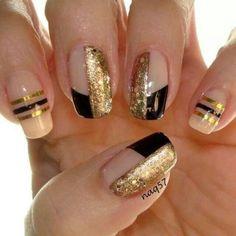 65 Ideas para pintar uñas de color dorado u oro - Golden Nails | Decoración de Uñas - Manicura y Nail Art