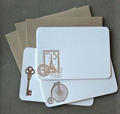 Antique French Letterpress Notecard Set of 3. $8.00, via Etsy.