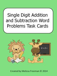 These large format (half page each) addition and subtraction task cards are great for math centers or early finishers. This package contains 10 addition word problem cards, 10 subtraction word problem cards and one student recording sheet. These cards are best for students who can read independently (near the end of first grade or beginning of second grade). Most of the problems involve single digit addition or subtraction (some use 10).