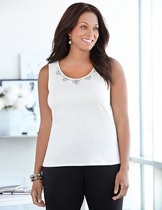 Glitz Tank: Shimmer in the spotlight with our soft and stretchy tank. Rhinestone and pearlescent beads highlight the scoop neckline for a glitzy finish. Side slits at hem. Catherines tops are designed for the plus size woman to guarantee a flattering fit. catherines.com #catherines #plussizefashion #fallstyle #blacklabel