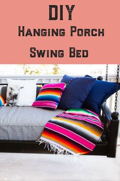 Build your own twin size mattress hanging porch swing bed! Hanging Porch Bed, Diy Hanging, Porch Swing, Front Porch, Girls Bedroom, Bedroom Decor, Diy Bed, Furniture Restoration
