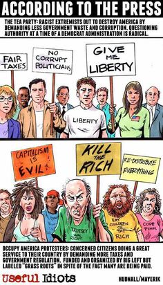 A picture is worth a thousand words...The Tea Party vs. Occupy Wall Street, according to the press.