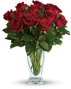 Teleflora's Rose Classique - Dozen Red Roses Vase Arrangement. Kentucky Derby or Valentine's Day