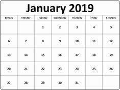 11 Best Calendar January 2019 Printable With Notes Planner Images On