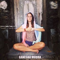 GANESHA MUDRA is used to stimulate the heart, improve concentration & ease tension. Hold your right hand in front of you with the palm facing your chest. Hold your left hand in front of you with the palm facing the right palm. Point your left thumb down & relax your right thumb. Curl the fingers of both hands around one another and pull slightly out to each side. Lani is wearing the Dawn SHAWL.
