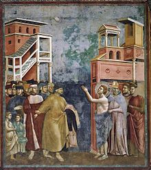 One of the Legend of St. Francis frescoes at Assisi, the authorship of which is disputed. Thought to be by Giotto.