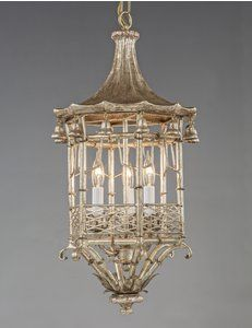 The Federalist Designs - Metal and wood pagoda design three light lantern. Shown in custom antiqued silver finish.