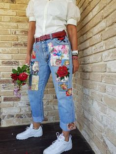 Patched Denim / Patched Jeans / Reworked Vintage Jeans with Patches / vintage brand jeans/painted denim/redone jeans /boyfriend jeans/, , Vintage Jeans, Jean Vintage, All Jeans, Jeans Denim, Patched Denim, Hijab Jeans, Outfit Jeans, Skinny Jeans, Painted Jeans