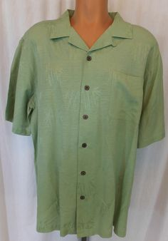 """""""HAVANA JACK'S CAFE"""" 100% SILK GREEN BUTTON FRONT SHIRT XL - SEE ALL PICTURES"""