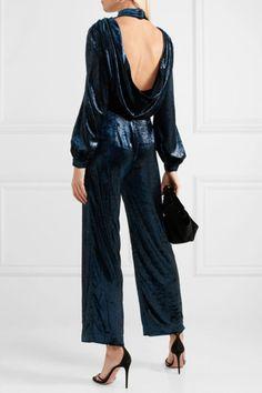 Raquel Diniz - Isabella open-back metallic velvet jumpsuit Lela Rose, Dolce & Gabbana, Diane Von Furstenberg, Balmain, Befunky, Stella Mccartney, Elegante Y Chic, Saint Laurent, Lawyer Fashion