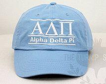 Alpha Delta Pi Sorority Line Design Baseball Cap - Custom Color Hat and Embroidery.