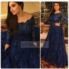 Plus Size Elegant Beaded Navy Blue Long Sleeve Prom Dress ItemB0017