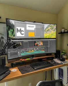 What do you think of this setup? Rate it 1-10 ⭐⭐      Setup by @grnttech  Find some of these items by clicking on the image *paid link. Creator Home Office Setup   Desk Workspace   Interior Design Tips & Ideas   MacBook Pro   Apple Watch   Magic Keyboard   Tech & Gadgets #spaceboundsetups #minimal #setups #workstation #workspace #desk #setup #interior #decor #idea #influencer #display #macbook #pro #apple #keyboard  FOLLOW @spacebound_creative on Instagram, Pinterest, and Facebook Best Home Office Desk, Home Office Setup, Home Desk, Home Office Design, House Design, Computer Desk Setup, Workspace Desk, Gaming Room Setup, Bedroom Setup
