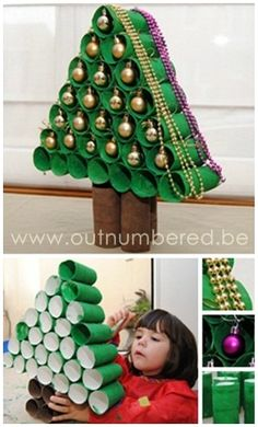 Christmas tree made out of toilet rolls...very clever. #ChristmasCraft #KidsCraft