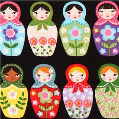 black matryoshka fabric Robert Kaufman Russian doll - Matryoshka Fabric - Fabric - kawaii shop modeS4u