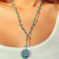 Aqua semi Precious stone Rose pendant by uniquebeadingbyme on Etsy