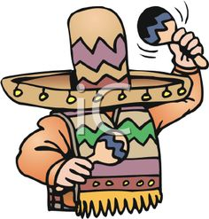 iCLIPART - Royalty Free Clipart Image of a Man Wearing a Sombrero and Holding Maracas