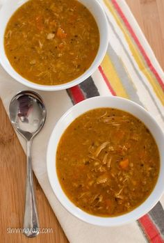 Slimming Eats Chicken and Lentil Soup - gluten free, dairy free, Slimming World (SP) and Weight Watchers friendly Slimming Eats, Slimming World Recipes, Slimming Word, Paella, Tapas, Cooking Recipes, Healthy Recipes, Healthy Soups, Budget Recipes
