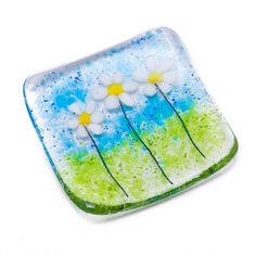 White daisies dish fused glass art daisy bowl trinket tealight candle holder christmas xmas secret s