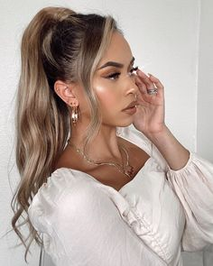 Wedding hair inspo using Luxy Hair ponytail extension Wedding Ponytail, Hair Ponytail, Ponytail Hairstyles, Bride Hairstyles, Down Hairstyles, Updos, Bridesmaid Hair Updo, Bridesmaids, Clip In Ponytail Extensions