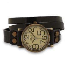 Womens Black Leather Vintage Design Wrap Watch
