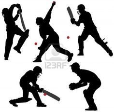 cricket player sillouette