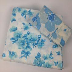 VTG 60s Flower Power Bed Sheet Lot Blue Retro Full Flat Pillowcase Cutter Fabric #SearsPepperell