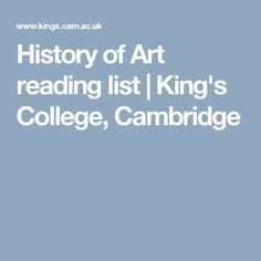 History of Art reading list | King's College, Cambridge