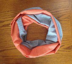 Navy and Orange Polka Dot Infinity Scarf by KutKloth on Etsy, $12.00