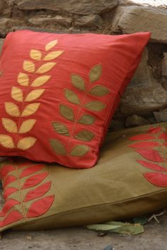 Applique work cushion covers
