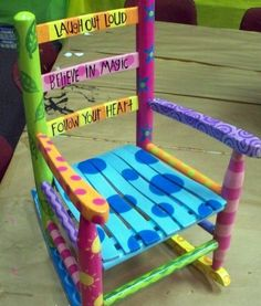 Teddy Bear Rocking Chair Plans Best Of Hand Painted Chair Paintedchair Painted Kids Chairs, Painted Rocking Chairs, Whimsical Painted Furniture, Childrens Rocking Chairs, Hand Painted Furniture, Funky Furniture, Paint Furniture, Repurposed Furniture, Furniture Stores