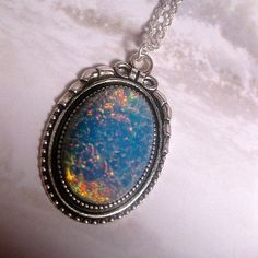 Tiki Blue Opal Necklace  Fire Opal Necklace by FashionCrashJewelry