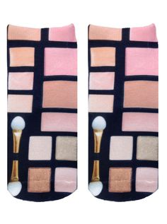 """All your essential Makeup now in sock form! *Unisex *100% polyester *Made in the USA *One Size fits most * 7.5"""" L x 3"""" W Printed on one side only."""