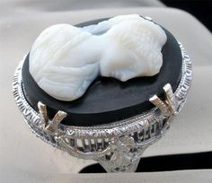 Antique 14k White Gold Filigree Hard Stone Cameo Size 7 5 Estate Ring Vintage | eBay