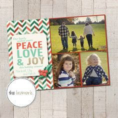 Christmas Card Templates  Peace Love & Joy by thebeamarie on Etsy, $5.00