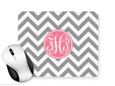 Monogram Mouse Pad mousepad Mat  Custom Zig Zag  by welovetocreate, £6.99
