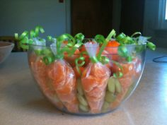 Healthy Easter treat for daycare! Clementine and green grape carrot patch.