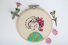Embroidery Hoop Art, Embroidered Illustration of a Girl, Hand Embroidered by ElenaCaron on Etsy https://www.etsy.com/listing/242172880/embroidery-hoop-art-embroidered