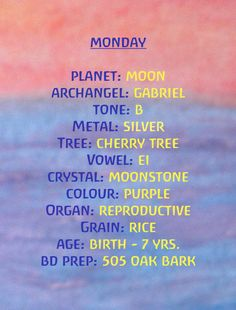 Monday: Colour of the Day and Other Energies by Rudolf Steiner