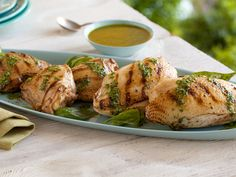 chicken with basil sauce. made only the sauce and it was fabulous on just plain broiled chicken, will try the chicken marinade next time. Grilling Recipes, Cooking Recipes, Healthy Recipes, What's Cooking, Cooking Time, Healthy Meals, Great Recipes, Dinner Recipes, Favorite Recipes