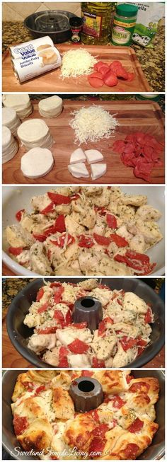 Pull Apart Pizza Bread 2 Cans of Pizza Dough or Biscuits 2 cups Mozzarella cheese 2 tablespoons of parsley flakes ⅓ cup olive oil 1 – 8 oz package of pepperoni...