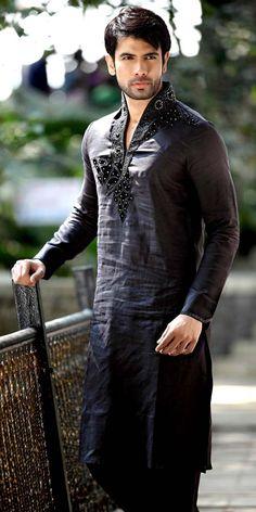 Black Linen Pathani Suit Item code : SKB9752 https://www.facebook.com/bharatplazaindianbridal https://twitter.com/bharatplaza_in