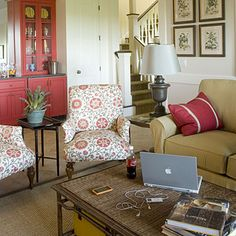 another great room from Calico Corners,  taupe with red accents