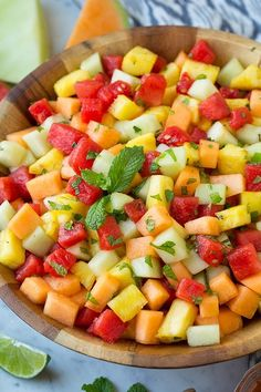 Melon and Pineapple Fruit Salad with Honey, Lime and Mint Dressing
