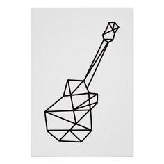 Ideas For Music Tattoo Guitar Tatoo Geometric Tattoo Design, Geometric Drawing, Geometric Pattern Design, Geometric Shapes, Geometric Animal, Geometric Sleeve, Geometric Tattoo Music, Simple Geometric Designs, Design Patterns
