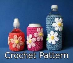download a FREE pattern every day. ~ can & Bottle Covers |  Crochet Stash .Tumblr .Com