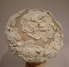 1950's Schiaparelli Organza and Lace Hat | From a collection of rare vintage hats at http://www.1stdibs.com/fashion/accessories/hats/