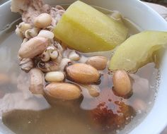 "[ts] Yes, another day of ""convenience"" food. This time, I chose a more conventional mix of ingredients. ""Pork Soup w/ Hairy Gourd & Pean..."