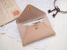 Personalized Envelope Leather Card Holder by HarLex - nude leather and cream thread